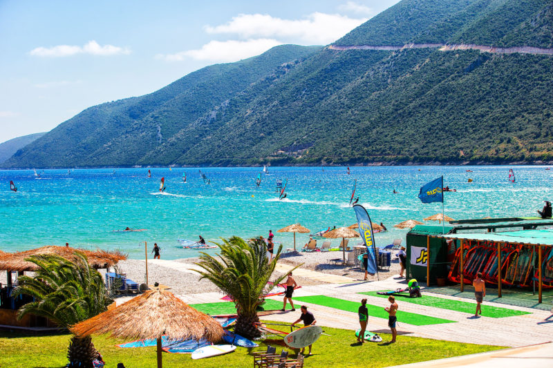 View from the hotel on a windy day in Vassiliki